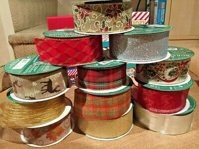 Luxury Kirkland Christmas Wired Ribbon Wire Edged Craft Decoration 63mm 28 shape