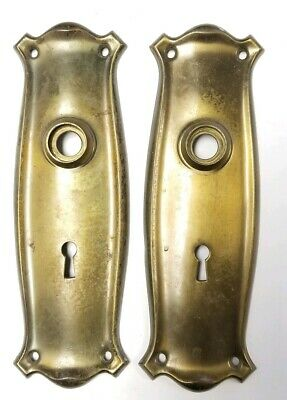 Pair of Antique Brass Door Knob Back Front Plate Hardware
