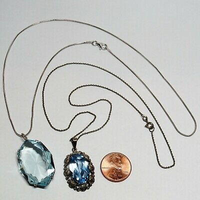 2 PC Lot OLD Vintage Solid Sterling Silver Blue Glass Stone Pendant Necklaces