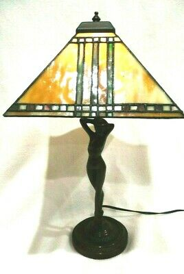 "Antique Art Deco 18"" Tall Bronze Nude Figural  Lamp with Stained Glass Shade"