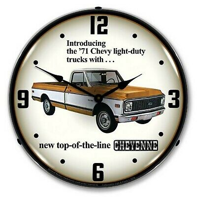 1971 Chevrolet Truck Cheyenne LED Lighted Wall Clock ~ Made in USA ~