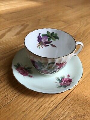 Vintage Paragon Fine Bone China Tea Cup & Saucer With Flowers In Pink/Purple
