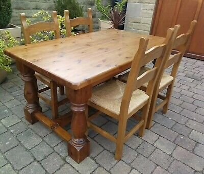 Solid Pine Dining Table & 4 Chairs Cash On Collection S75 Barnsley