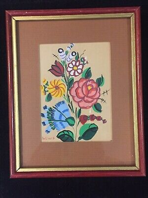 auth Canadian listed Nova Scotia VINTAGE SMALL FLORAL OIL Maud Lewis(1903 1970)