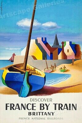 """1950s """"Discover France By Train"""" Vintage Style Brittany Travel Poster - 20x30"""