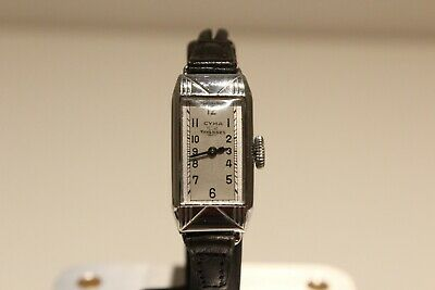 "Art Deco Rare Ww2 Swiss Rectangular Ladies Mechanical Watch ""Cyma Tavannes 3"""