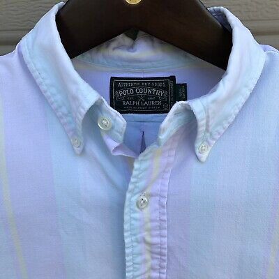 VTG Ralph Lauren Polo Country Long Sleeve Button Shirt Mens XL Striped Pastels