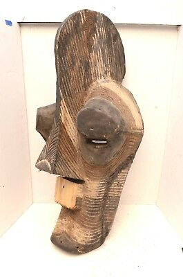 """OLD LARGE Hand Carved Songye Kifwebe Face Mask 30""""  DR Congo African Art antique"""