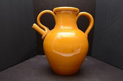 Rare Vintage BIOT FRANCE Glazed jug pitcher French Terra cotta art pottery LARGE