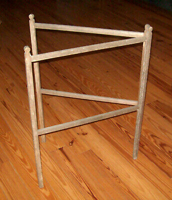 Old Antique Vtg Mid 19th C 1850s Drying Quilt Rack Open Mortise Lollypop Finials