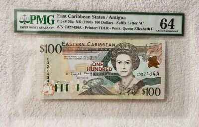 """ND 1998 East Caribbean States/Antigua Pick# 36a $100 Dollars """"A"""" PMG 64"""