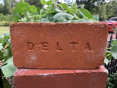 Antique DELTA Stamped Brick FREE SHIPPING Solid Vintage Reclaimed Brick