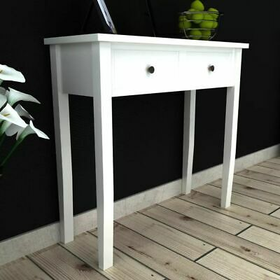 vidaXL Dressing Console Table with 2 Drawers White Hallway Display Stand Desk