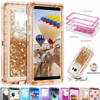 For Samsung Galaxy Note 8 Note9 S7 8 9 360° Liquid Glitter Bling Heavy Duty Case