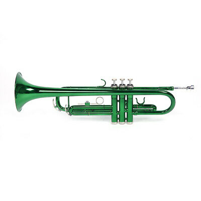 Band Bb Trumpet Silver-Plated Brass Trumpet Bb B Flat W/ Case Green Glove Set Us