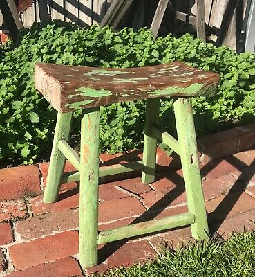 antique rustic country wooden stool folk art