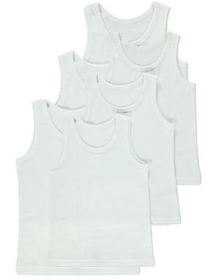 **Back to School** 6 Pack of Boys 100% Cotton Warm Vests / Available in Ages 1 u