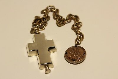 ART DECO VINTAGE RARE MEN'S BIG 5.5sm BRASS CROSS RELIQUARY WITH CHAIN+ PENDANT