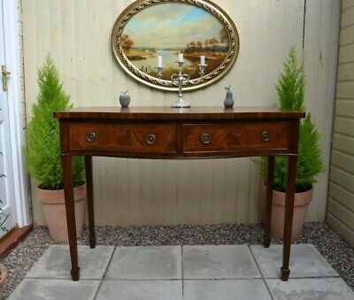 Quality Inlaid Mahogany Writing Table Desk Side Table Dressing Table Bow Front
