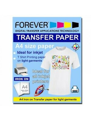 250x A4 Iron On T-Shirt Transfer Paper for Light Fabric - For Inkjet Printer