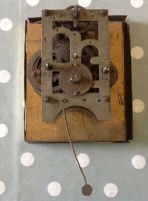 Antique Junghans Alarm Clock Movement Bezel Face Back Plate 10x11cm Untested