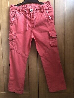 Boys Marks And Spencer Linen Look Cargo Trousers Chilli Red Age 4-5