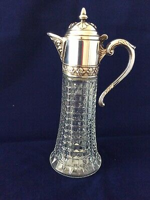 Vintage Silver Plate Top and Pressed Glass Claret Jug 300 mm tall