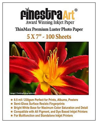 5x7 Finestra Art Premium Luster Inkjet Photo Paper - 100 Sheets 8.5mil