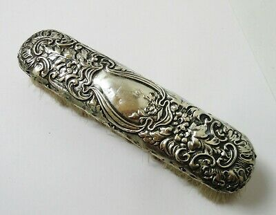 Antique Sterling Silver Victorian Repousse Vanity Clothing Brush