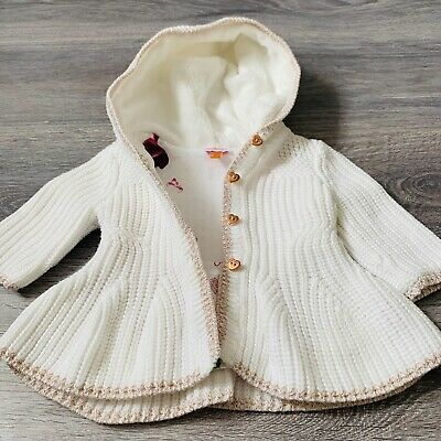 Ted Baker Baby Girls White Floral Cardigan Light Jacket With Hood Knitted 0-3 M
