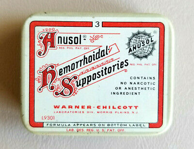 Vintage Anusol Hemorrhoidal Suppositories Physician's Sample Tin--+ Contents