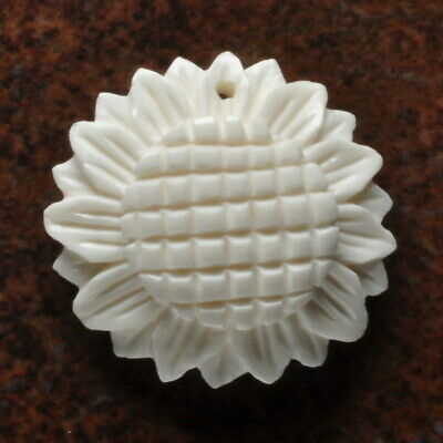 Hand Carved Flower Natural Buffalo Bone Pendant Bead 30X30X3Mm