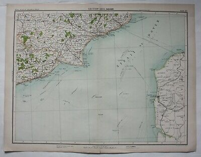 1898 Dover  Straits - Victorian Map 1898 Royal Atlas Of England & Wales Plate 48