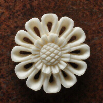 Hand Carved Flower Natural Buffalo Bone Pendant Bead 28X28X5Mm