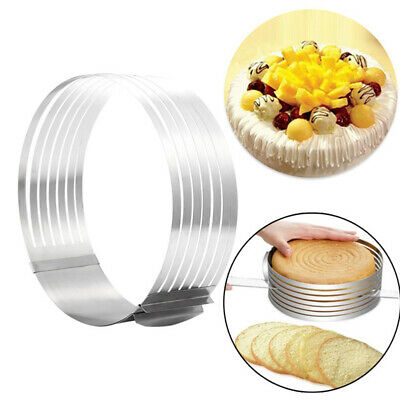 16-30cm Adjustable Round Stainless Steel Cake Ring Mold Layer Slicer Cutter GN