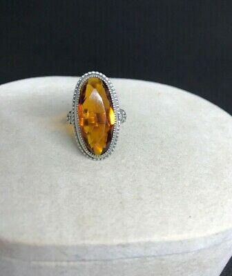 Vintage Sterling Silver Ring With Amber Colored Crystal Glass Size 5