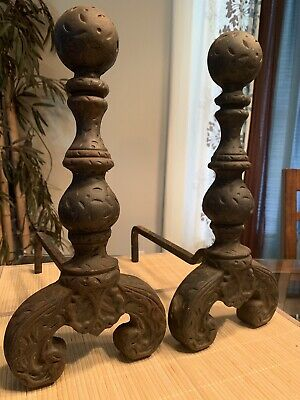 "Vintage Antique Pair Cast Iron Fireplace Andirons Cannon Ball Fire Dogs 16"" Tall"