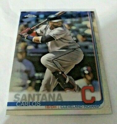 CARLOS SANTANA 2019 Topps Chrome Refractor #44 Cleveland Indians