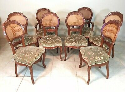 Set Of 8 Antique Victorian Balloon Back Solid Oak Dining Chairs Cane Carved Wood