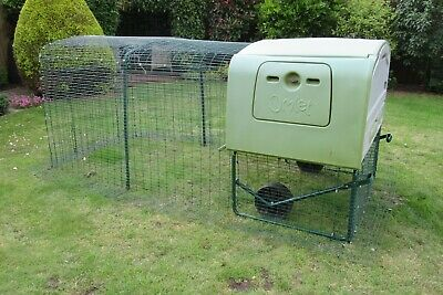 Omlet Eglu Cube chicken house in green with 2 metre extension