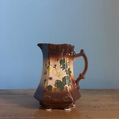 Antique Victorian Pitcher Or Vase. Brown Floral Ceramic Water Jug