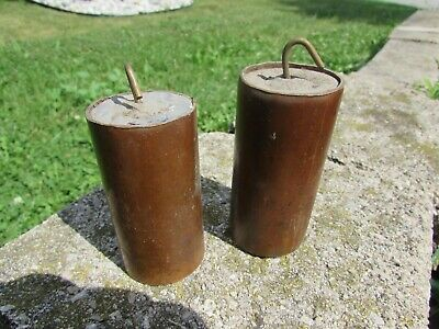 Antique Clock Weights Brass & Lead two weights