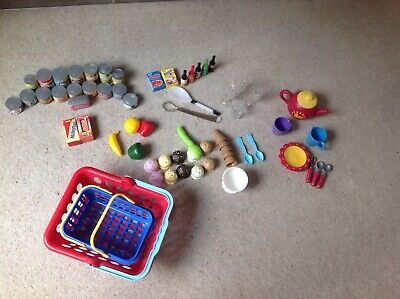 play food, cups, glasses, shopping baskets x 2, tinned food,great for role play