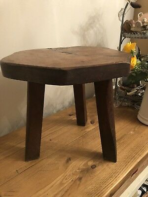 "Antique 3 Legged 13"" Handmade Small Oak Stool Solid Arts & Crafts Beautiful"