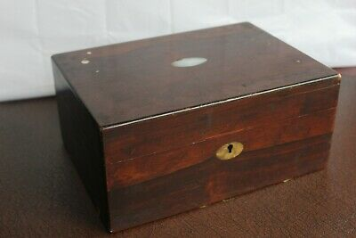 Antique or Vintage Mother of Pearl Inlay Box Treen Woodenware Box - Good Project