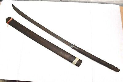 Antique Thailand Dha Sword Burmese Thai Wood Mounted Two Handed Forged Blade