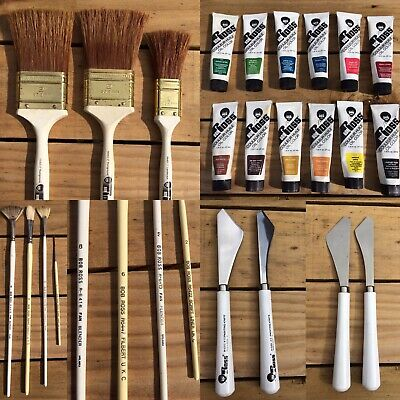 Job Lot 7 Bob Ross Used Brushes & 14 Oil Paints & Other Accessories Preloved