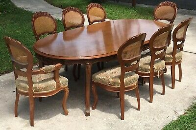 Antique Victorian Solid Oak Dining Room Table Set Of 8 Balloon Back Cane Chairs