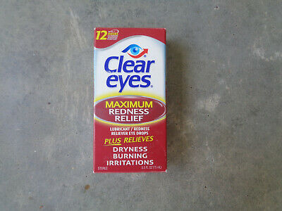 Brand New Clear Eyes Maximum Redness Relief Eye Drops 0.5 Fl Oz. 12 Hour Dryness
