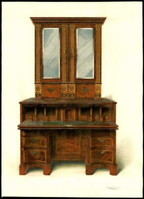 1904 LARGE Antique Print FURNITURE Walnut Inlaid Writing Cabinet Macquoid (134)
